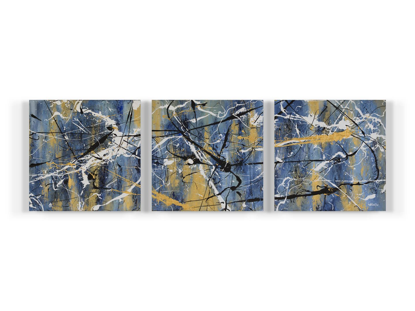BLUE ZONE Tryptic 3x 40x40 Mixed media on canvas 2019 - gold - white - black